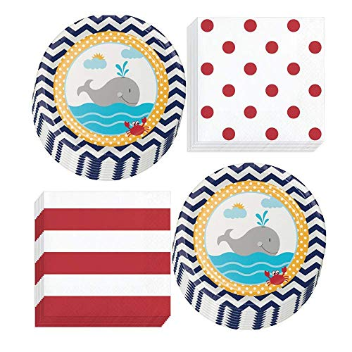 Nautical Party Supplies - Ahoy Matey Seaside Ocean Baby Shower Crab and Whale Paper Dessert Plates & Dots and Stripes Beverage Napkins (Serves 16)