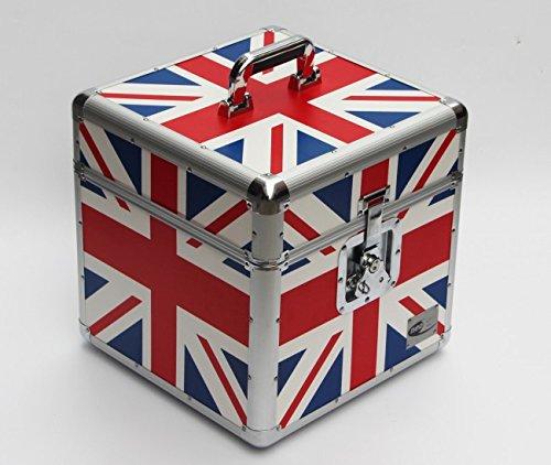 Caja almacenamiento para discos de vinilo 12 pulgadas, para transporte, 100piezas, bandera de Reino Unido