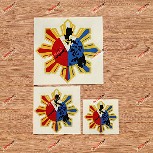 Eight-ray Sun Stars Philippines Flag Map Outline Filipino Vinyl Decal Sticker - 3 Pack Reflective, 3 Inches, 4 Inches, 6 Inches - for Car Boat Laptop Cup Phone
