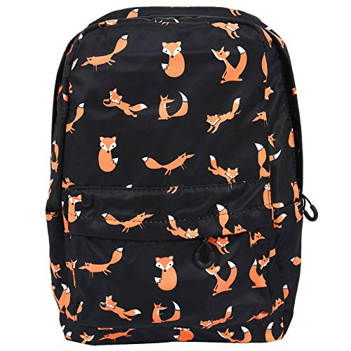 Dcolor Cute Animal Fox Printing School Backpacks Waterproof Women Bag Laptop Backpack Female School Backpack Black