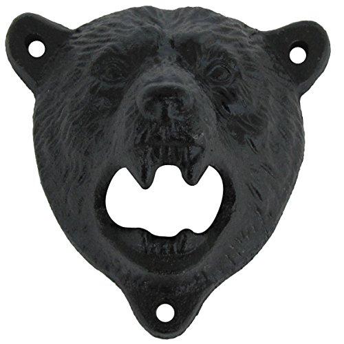 Cast Iron Wall Mount Grizzly Bear Teeth Bite Bottle Opener
