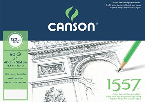 Canson 204127410 1557 Zeichen-und Skizzenpapier, A2, rein weiß