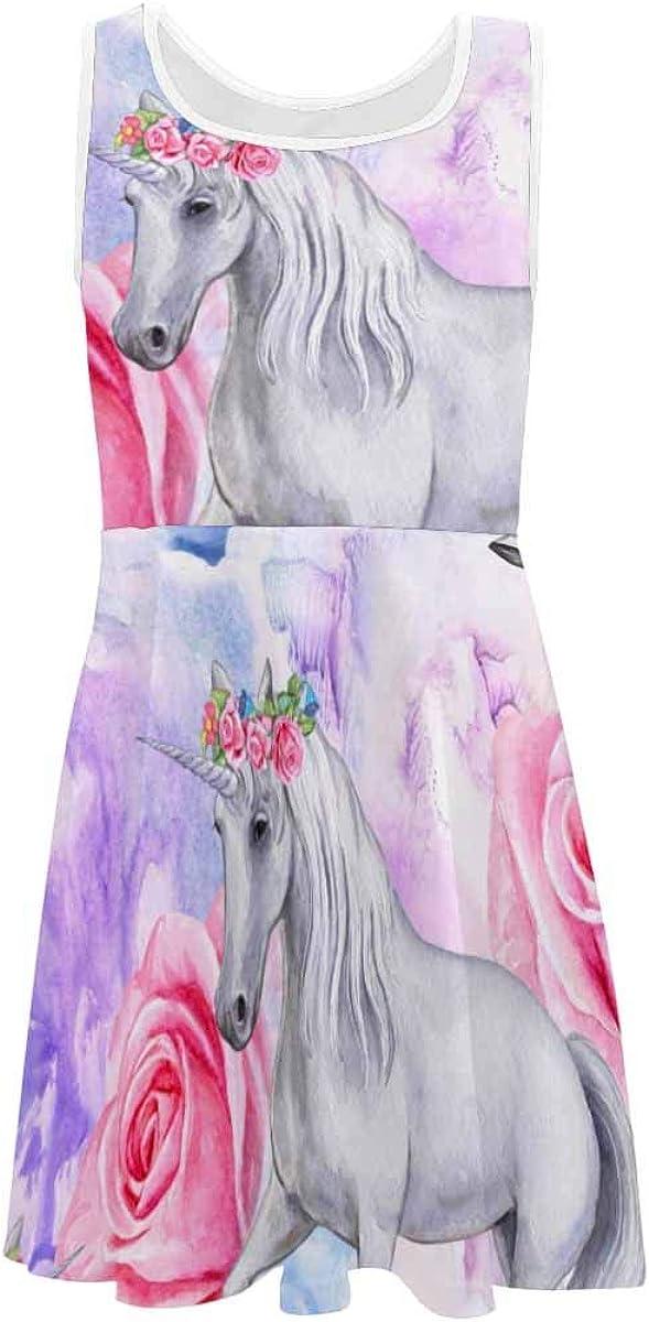 INTERESTPRINT Girls Sleeveless Summer Casual Dresses 4-13 Years Unicorn Moon (2T-XL)