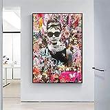 WKHRD Pop Graffiti Art Audrey Hepburn Retrato Art Prints Street Art Celebrity Poster Lienzo Pintura Cuadros de Pared Decoración para Sala de Estar | 60x80cm-Sin Marco