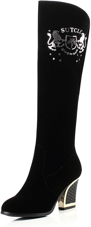 DecoStain Women's Gilding Pattern Zipper Black Knee High Boots