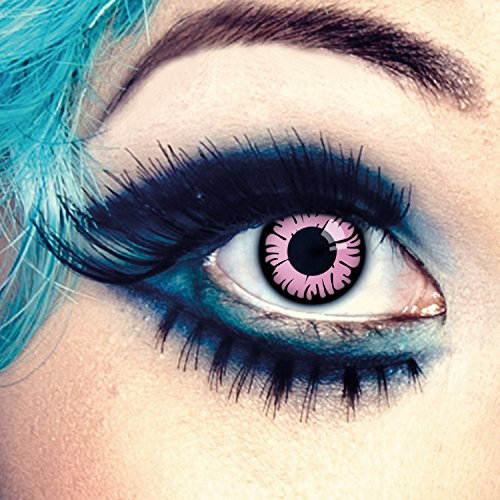 aricona Kontaktlinsen - Pinke Kontaktlinsen Farblinsen ohne Stärke - Farbige Kontaktlinsen pink-schwarz für Anime, Manga, Cosplay, 2 Stück
