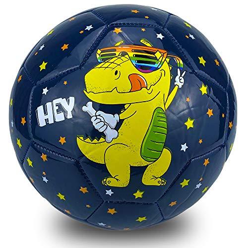 Champhox Kinder Fußball Ball mit Pumpe, Kinder-Sportball, Cartoon-Design, Kleinkinder, Freizeitball für drinnen und draußen, Ball für Kinder, Kleinkinder, Mädchen, Jungen (Dinosaur Under Star, Size3)