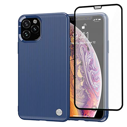 iPhone 11 Pro Max Case with Screen Protector Glass | Shockproof Elegant Case | Soft TPU Cover Case for iPhone 11 Pro Max 6.5 inch | Scratch Resistant Tempered Glass for iPhone 11 Pro Max (Navy Blue)