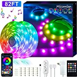 82Ft/25m LED Strip Lights, Micomlan Music Sync Color Changing LED Light Built-in Mic, Bluetooth APP Controlled DIY Color Options Rope Lights, 750LEDs 5050 RGB LED Light Strip(APP+Remote+Mic+Music)