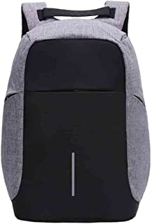 Unisex Laptop Backpack Travel Daypack with USB Charging Port (Grey)