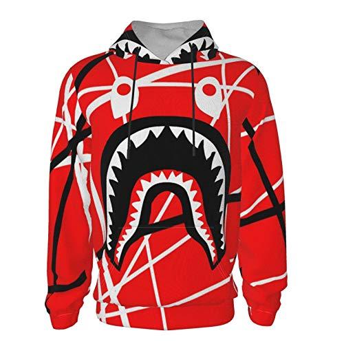 Boys & Girls Hoodies for Cycling Training Yoga, Red with Black White Stripes Color bapes Shark Teeth Logo Sweatshirts, Long Sleeves Tracksuits with Kangaroo Pockets