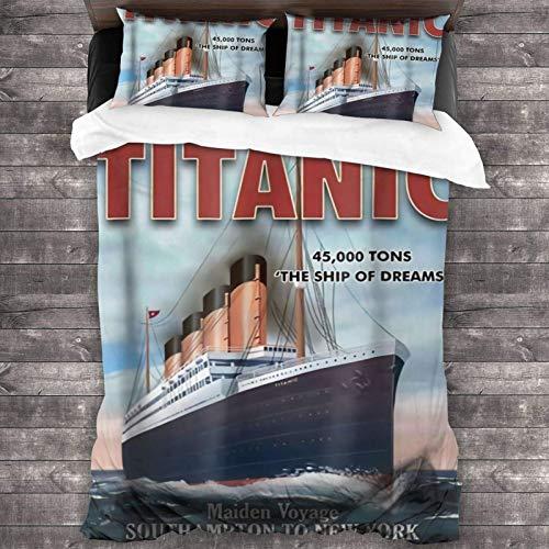 Yuanmeiju Juego de Cama Titanic Comforter Set, 3 Piece Bedding Set, 86X70 Set with 1 Quilt Set and 2 Pillowcase Soft and Comfortable