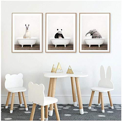 Mulmf Baby Dier in De Badkuip Poster Alpaca Panda Olifant Canvas Schilderen Kwekerij Muur Kunst Foto's Kinderkamer Decor- 30X40Cmx3 Niet ingelijst