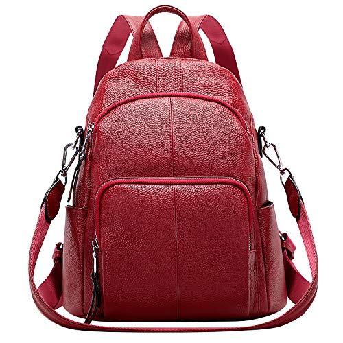 ALTOSY Echtleder Damen Rucksack Tasche Elegant Anti-Diebstahl Tagesrucksack Schultertasche (S81, Weinrot)