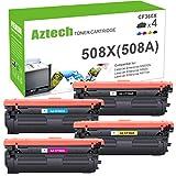 Aztech 4 Toner Compatibili per HP 508X 508A CF360X CF361X CF362X CF363X Toner HP Color Laserjet Enterprise M553N M553DN M552DN MFP M577 M553 M557 M553X M577F HP M552 Toner