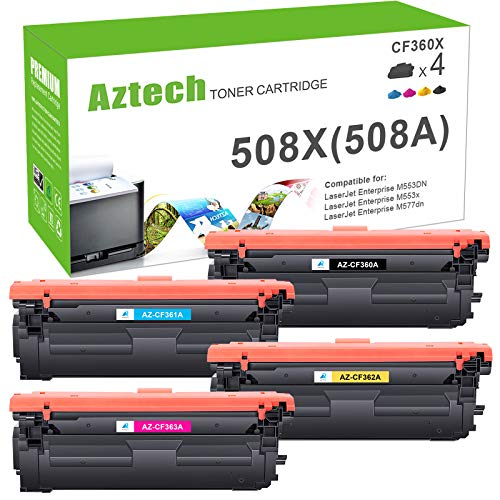 Aztech Compatible Toner Cartridge Replacement for HP 508A CF360A 508X CF360X M553 Toner for HP Color Laserjet Enterprise M553dn M553n M553x M553 MFP M577 HP CF361X CF362X CF363X Toner Ink (KCYM, 4PK)