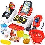Buyger Caja Registradora Juguetes Supermercado Compras Electrónica Escáner Moneda Juegos con Sonido y Luz Juguetes Educativos para Niños Niñas Infantil 3 4 5 Años