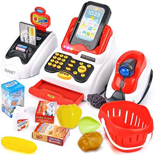 Buyger Elektronische Kasse Spielzeug Registrierkasse mit Scanner Supermarktkasse Spielkasse Rollenspiel für Kinder ab 3 Jahren