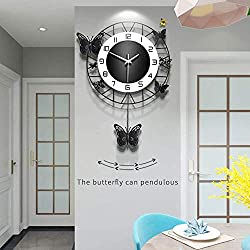 ANMIKI Metal Black Drop Wall Clock,Pretty Butterfly Design,Non-Ticking Silent Quartz Clocks with Arabic Numerals Home Decoration