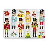 ナットクリスマスくるみ割り人形クラッカードラマーポインセチアボーイクラウン屋内屋外ドアマットラグフロアマット滑り止め寝室用バスルームリビングルームキッチン23.6×15.7インチ家の装飾