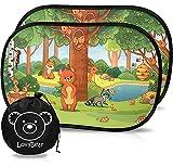 Lovabear Tendine Parasole Auto Bambini Statiche – Adesione Senza Ventose, 2 Pezzi 51x31 cm, con Protezione Superiore ai Raggi UV e Calore (SunShield+) (Foresta)