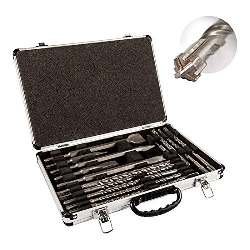 STIER SDS-Plus Bohrer & Meißelsatz, 17-tlg Set im Metallkoffer, SDS-Plus Spitzmeißel, SDS-Plus Flachmeißel, SDS-Plus Breitmeißel, SDS-Plus Bohrer 260 mm - 210 mm