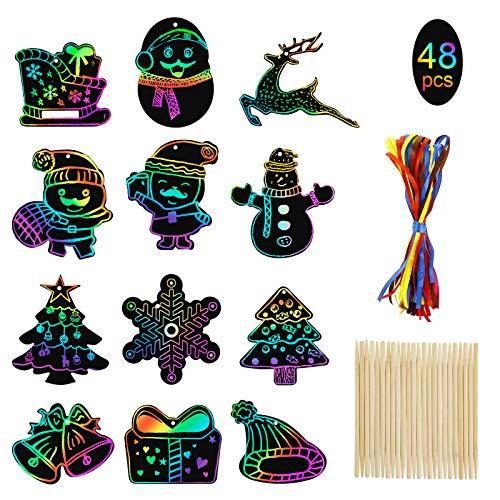 MELLIEX 48 Stück kratzbilder für Kinder, Weihnachten Kratzpapier Regenbogen Scratch Art mit 48 Bändern und 20 Holzstiften für Kinder Basteln, Weihnachtsan Geschenkan, Weihnachtsbaumschmuck