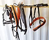 LEATHER HORSE DRIVING HARNESS BREACHING TIE DOWN TOW TONE BLACK AND TAN COB