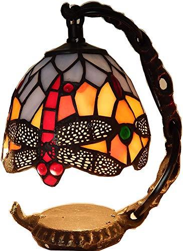 Hootiny Lámparas de Mesa de Estilo Tiffany de 5 Pulgadas Hermosa Dragonfly Mini Sombra de vidrieras para Lámparas de Noche Lámparas de Noche