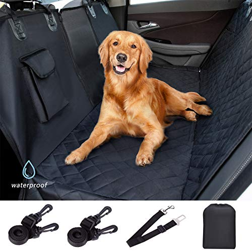 Dog Back Seat Cover Protector 100% Waterproof Scratchproof Nonslip Durable Pets Seat Covers with Mesh Visual Window and Storage Pocket Hammock with Side Flaps for Cars Trucks and SUVs