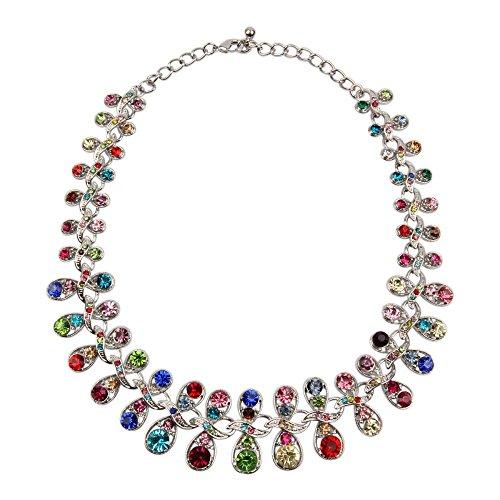 kette halskette collier im Silber mit Zirkonia Steine Multicolor Bunt