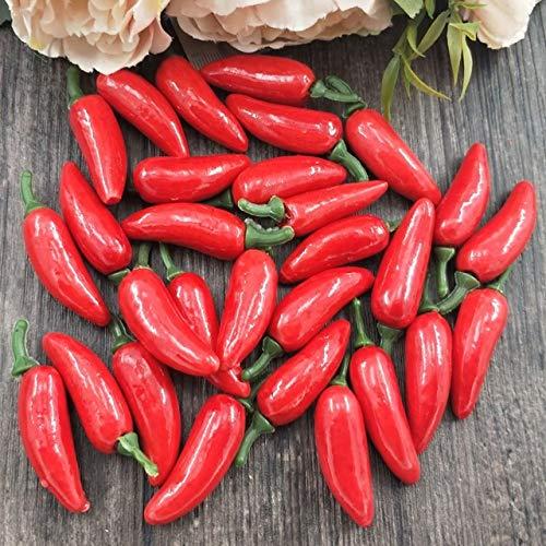 Xinger 10 stks kunstmatige plastic simulatie chili peper planten corsage zetten fruit groenten voor nieuwjaarsdecoratie, rode peper (met ped