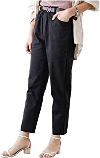 [フェイミー] アンクル パンツ ウエストゴム 9分丈 チノパン ポケット ベルト付き 秋 3カラー S 〜 L レディース