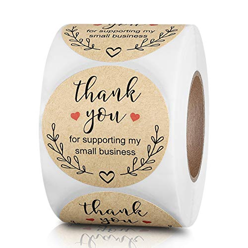 1.5 inch Thank You for Supporting My Small Business Stickers Round Labels with Red Heart, Custom Sticker for Bakeries, Crafters & Small Business Owners, 500 Labels Per Rol
