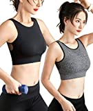 2 Pack Racerback Sports Bras Women Removable Padded Mesh Medium Impact Workout Bra for Yoga Running