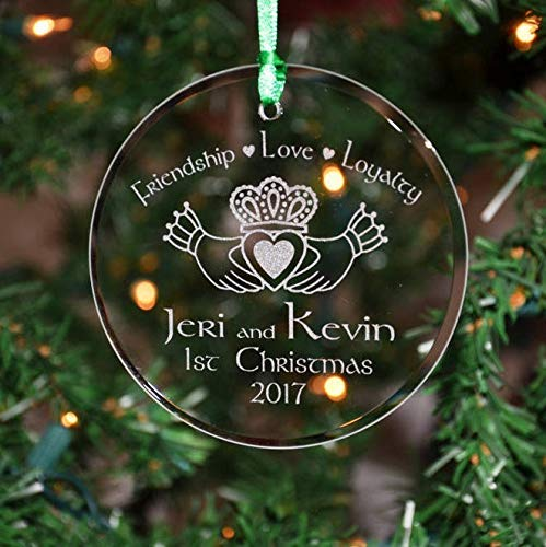 Cukudy Personalized Engraved Couples Irish Celtic Claddagh Glass Christmas Ornament, Holiday Ornament, 1st ORN10
