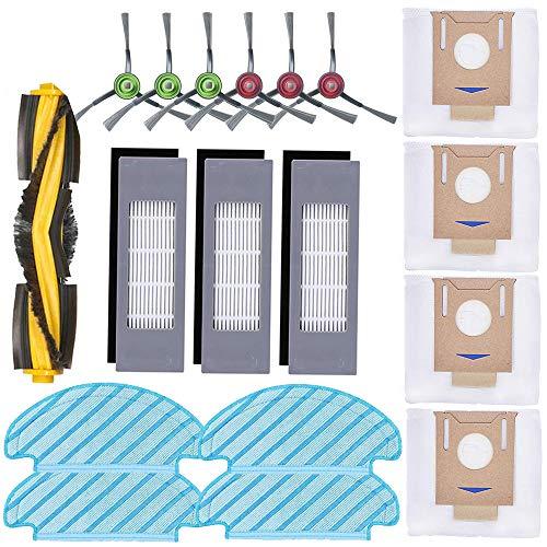 Ersatzteil-Set für Ecovacs Deebot Ozmo T8 AIVI T8MAX Staubsauger, 1 Hauptbürste, 6 Seitenbürsten, 3 Filter, 4 Wischtücher, 4 Staubbeutel
