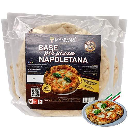 10 Pizzabasis Klassische neapolitanische, vorgekochte italienische Pizza Basis in einem Holzofen, Pizza in 4/7 Minuten im Ofen fertig, vorgekochte kalabrische Pizza (10 Pizzabasen mit 275 Gramm)