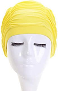 BOWINUS Summer Women Swimming Hat Hair Earmuffs Head Anti-UV Nylon Girls Beach Pool Diving Ruffle Swimming Cap