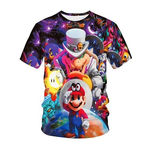 WFQTT Maglietta a maniche corte per bambini, 3D, motivo mario, con grafica casual, per ragazze e ragazzi, A4., XL