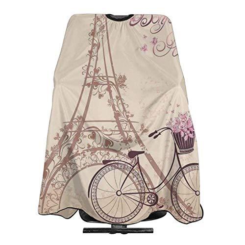 Chal de corte de pelo profesional de la Torre Eiffel para bicicleta, chal de peluquería impermeable, delantal de peluquería para corte de pelo, chal estilo de 137 x 166 cm