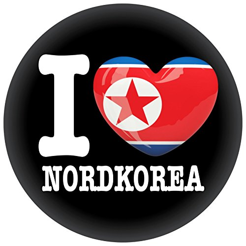 FanShirts4u Button/Badge/Pin - I Love NORDKOREA Fahne Flagge NORTH KOREA (I Love Nordkorea)