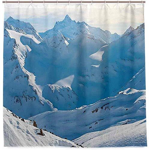 RP Amazing Badezimmer Vorhänge,Snowy-Bergspitzen-Wintersaison Gefrorene Land-Alpen-Hohes Szenisches Europa-Surreales Foto-Bad-Duschvorhänge 183X183Cm