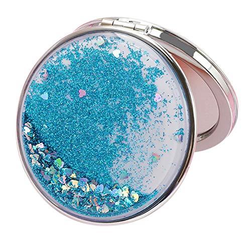 Miroir de maquillage compact de poche Voyage miroir pour les femmes, Sac à main Szie, Miroir cosmétique pliant Miroir grossissant Beauté Bleu-ronde