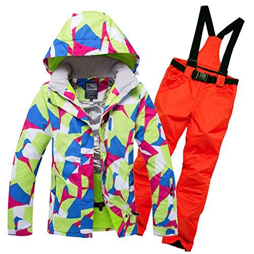 Femme Habit de Neige Jeu Vestes de Ski, Combinaison de Ski de Voyage Costume féminin Hiver Coupe-Vent Imperméable Vêtements de Ski extérieur Coton épais Manteau-N S