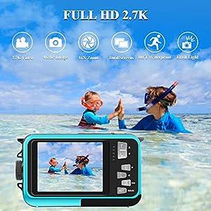 Unterwasserkamera 2.7K Full HD Digitalkamera Wasserdicht 48 MP Unterwasserkamera Digital Wasserdicht Selfie Camcorder Kamera Dual Screen DV wasserdichte Kamera