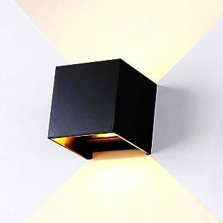 Huahan Haituo Aluminiowa lampa ścienna LED, 12 W, 85 – 245 V, 3000 K, regulowana lampa zewnętrzna ciepła (czarna)