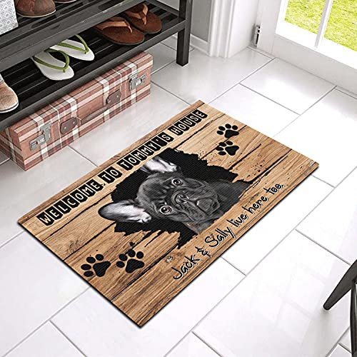 Custom Dog Door Mat with Name and Breed, Welcome to My House Personalized Doormats, French Bulldog Door Mat, Dirt Trapping Door Mat, Outdoor Mats for Front Door Waterproof Keep Dirt Out