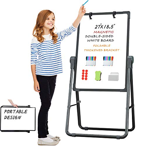 Pollenzic White Board Double Sides Magnetic Dry Erase Easel White Board, 18.5x27 Inch, Portable Foldable with 1 Dry Eraser 16 Dry Erase Markers 8 Magnets Suit for Home Kids Office