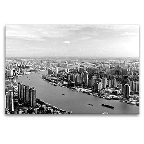 Premium - Lienzo (120 cm x 80 cm, horizontal), diseño de Shanghai Skyline con Huangpu River